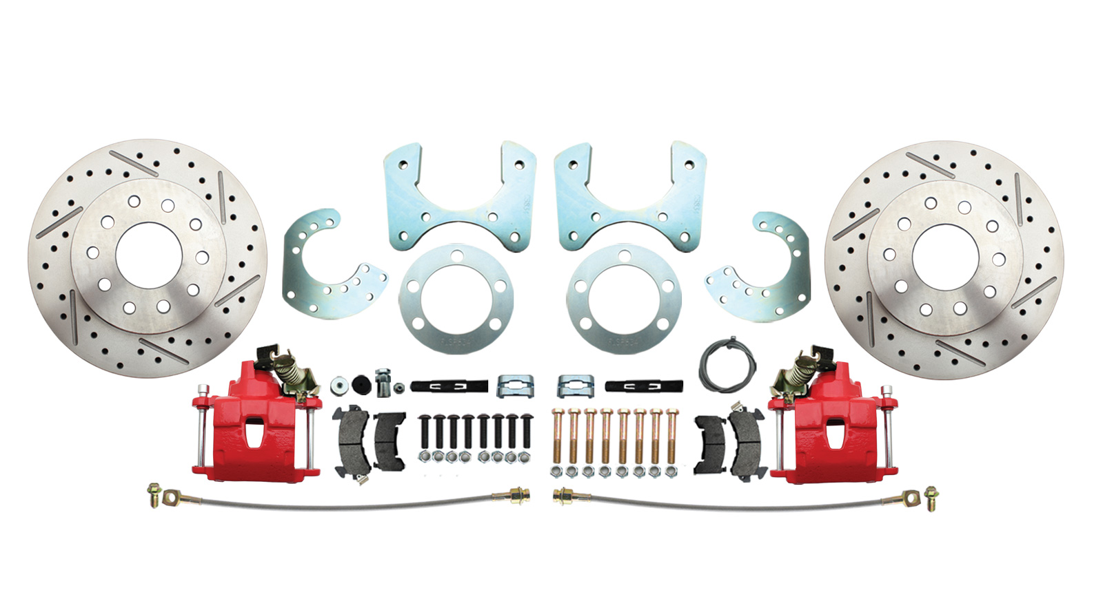 DBK834LXR - Mopar 8 3/4 (A, B, E Body) High Performance Disc Brake Conversion Kit W/ Red Powder Coated Calipers