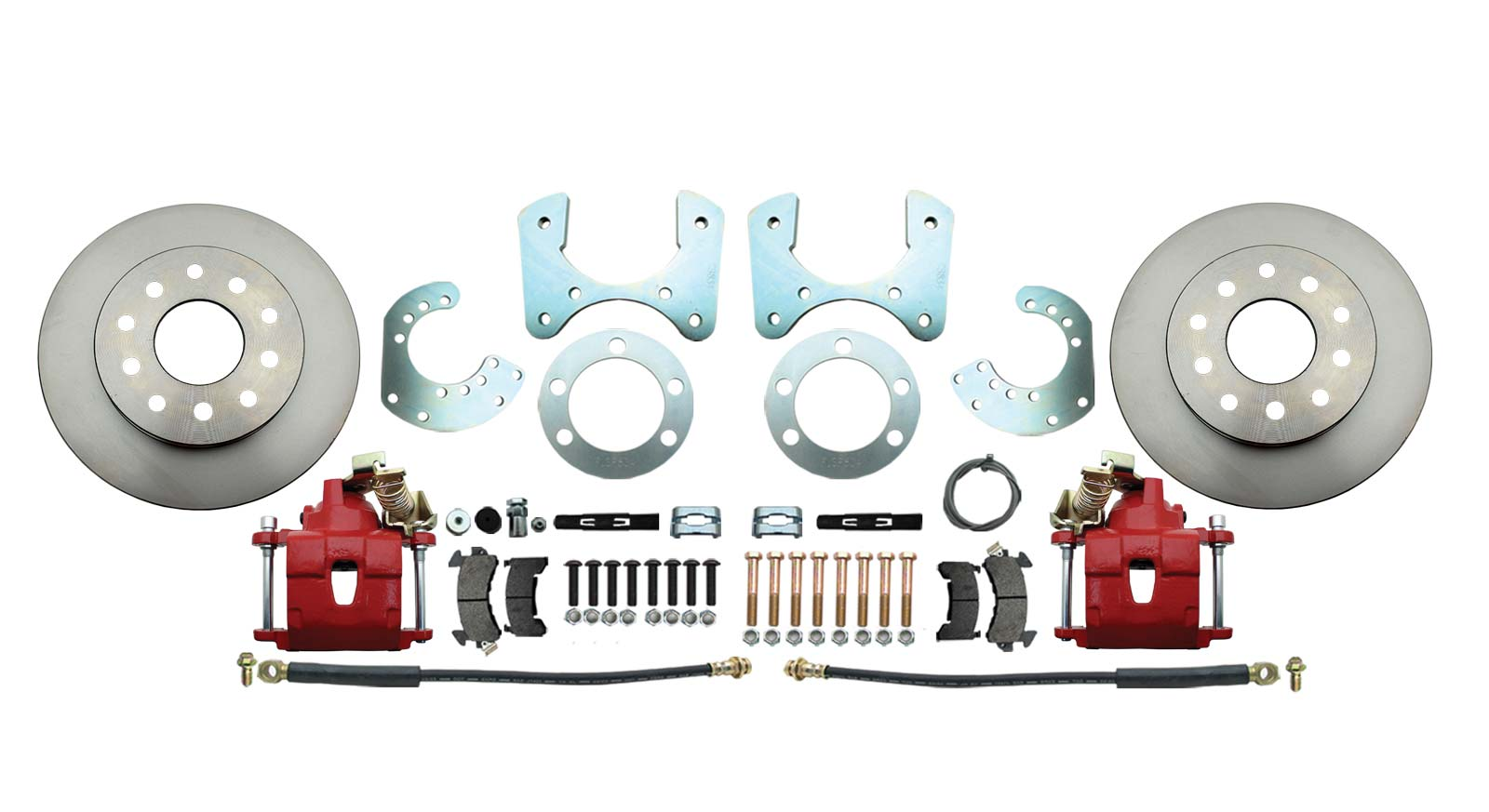 DBK834R - Mopar 8 3/4 (A, B, E Body) Rear End Standard Disc Brake Conversion Kit W/ Red Calipers