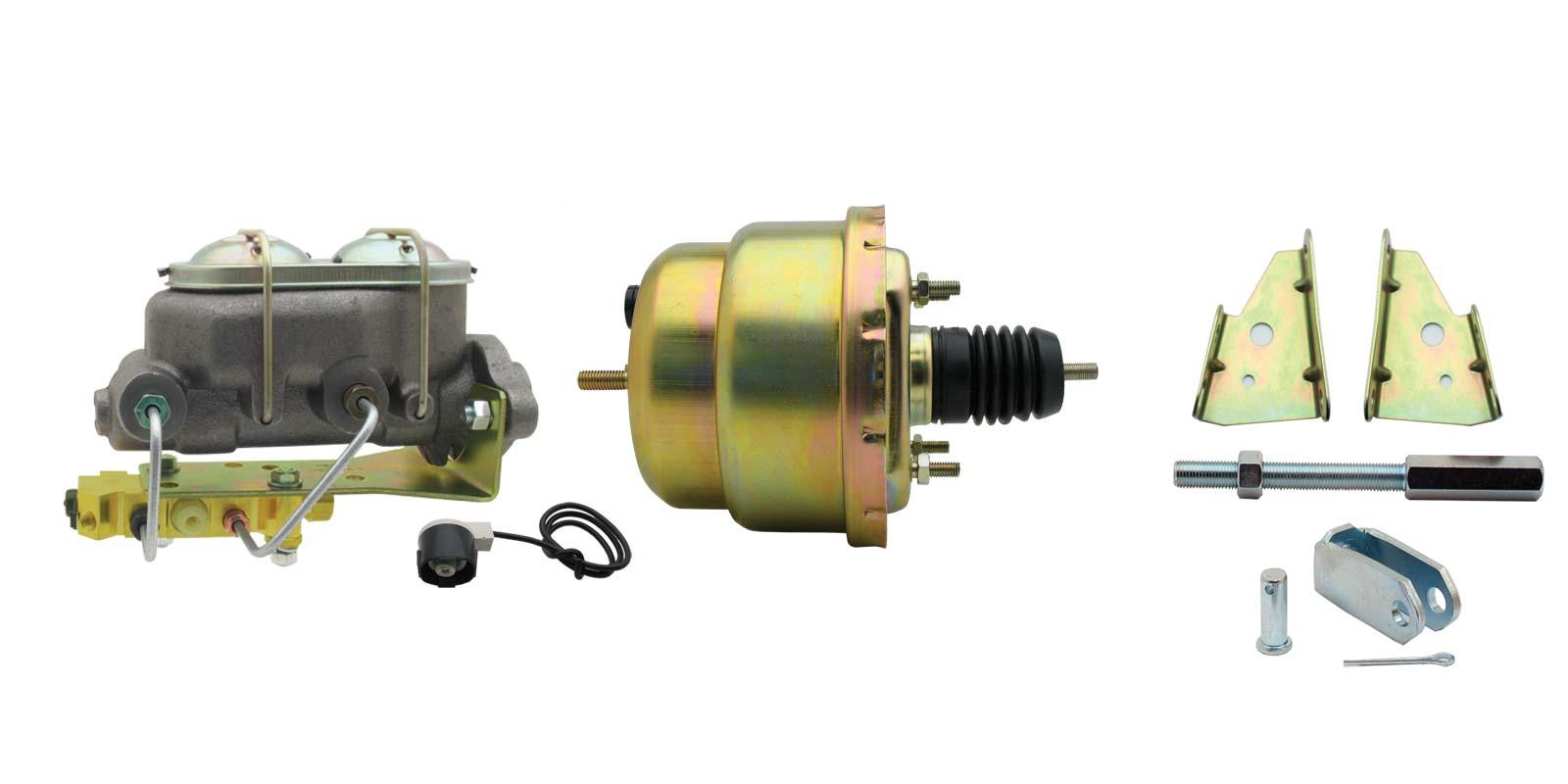 GM A, F, X 7 Dual Zinc Bottom Mount Power Brake Booster Conversion Kit (Disc/ Drum)