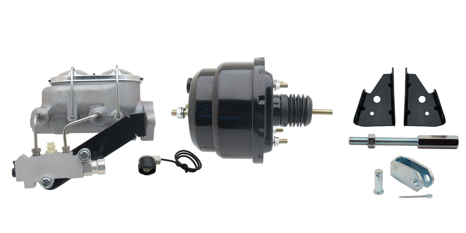 GM A, F, X 8 Dual Powder Coated Black Proline Power Brake Booster Conversion Kit (Disc/ Drum)