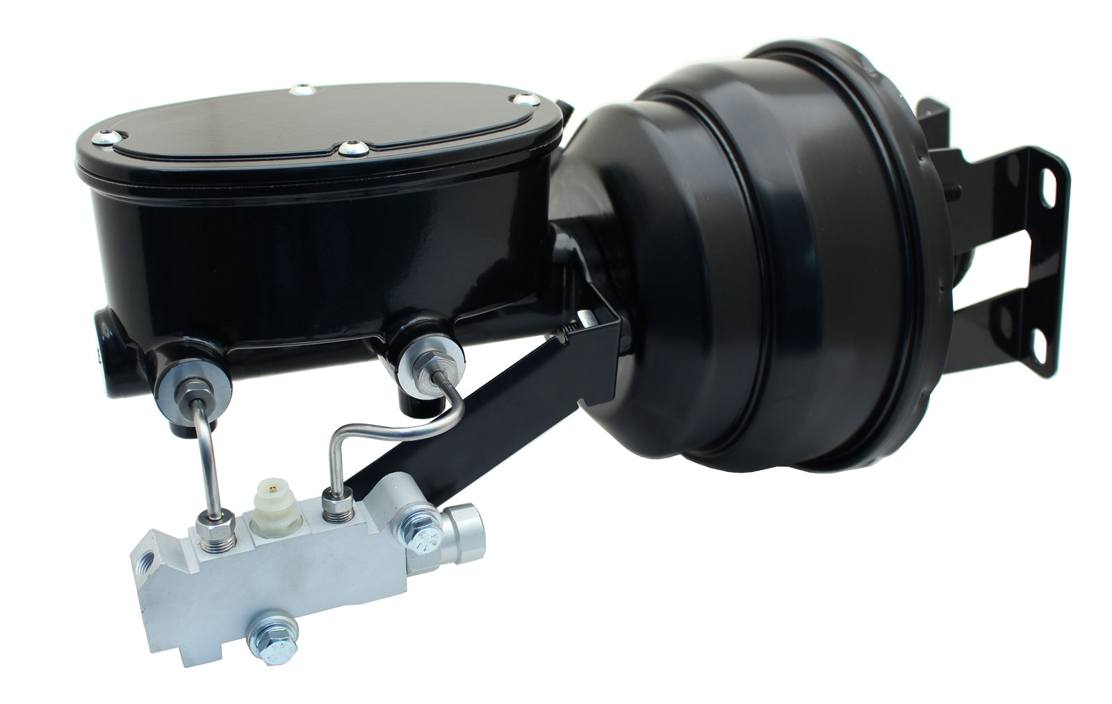 1959-1964 GM Full Size (Impala, Bel Air) 8 Dual Powder Coated Black Booster Conversion Kit W/ Wilwood Oval Left Mount Disc/ Disc Proportioning Valve Kit