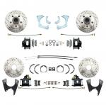 1959-1964 Full Size Chevy Complete Front & Rear Disc Brake Conversion Kit W/ Powder Coated Black Calipers & Drilled/ Slotted Rotors