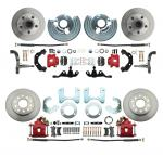 1962-1972 Mopar A Body Small Bolt Pattern Standard Disc Brake Conversion Kit W/ Powder Coated Red Calipers