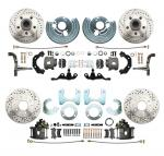 1962-1972 Mopar A Body Front & Rear Large Bolt Pattern Disc Brake Conversion Kit W/ Drilled & Slotted Rotors