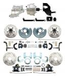 """1962-72 Mopar B E Body Front & Rear Disc Conversion W/ Drilled & Slotted Rotors & Powder Coated Black Calipers ( Charger,  Challenger,  Coronet) W/ 8"""" Dual Chrome Booster Conversion Kit W/ Flat Top Chrome Master Cylinder Kit"""
