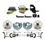 """1962-1972 Mopar B & E Body  Front Disc Brake Conversion Kit W/ Drilled & Slotted Rotors ( Charger,  Challenger,  Coronet) W/ 8"""" Dual Zinc Booster Conversion Kit W/ Left Mount Proportioning Valve Kit"""
