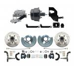 """1962-72 Mopar B&E Body Front Disc Brake Conversion Kit W/ Drilled & Slotted Rotors & Powder Coated Black Calipers ( Charger,  Challenger,  Coronet) W/ 8"""" Dual Powder Coated Black Booster Conversion Kit Aluminum Dual Master  & Valve"""