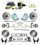 """1964-1972 GM A Body Front & Rear Power Disc Brake Conversion Kit Standard Rotors W/ 9"""" Dual Zinc Booster Kit"""