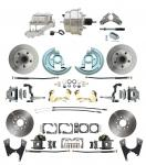 "1964-1972 GM A Body Front & Rear Power Disc Brake Conversion Kit Standard Rotors W/ 8"" Dual Chrome Booster Kit"