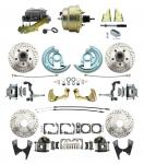 """1964-1972 GM A Body Front & Rear Power Disc Brake Conversion Kit Drilled & Slotted Rotors W/ 8""""Dual Zinc Booster Kit"""