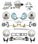 """1964-1972 GM A Body Front & Rear Power Disc Brake Conversion Kit Drilled & Slotted Rotors W/8"""" Dual Chrome Flat Top Booster Kit"""