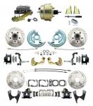 """1964-1972 GM A Body Front & Rear Power Disc Brake Conversion Kit Drilled & Slotted & Powder Coated Black Calipers Rotors W/ 8""""Dual Zinc Booster Kit"""
