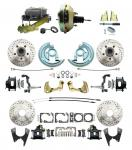 """1964-1972 GM A Body Front & Rear Power Disc Brake Conversion Kit Drilled & Slotted & Powder Coated Black Calipers Rotors W/9"""" Dual Zinc Booster Kit"""