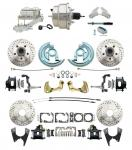"""1964-1972 GM A Body Front & Rear Power Disc Brake Conversion Kit Drilled & Slotted & Powder Coated Black Calipers Rotors W/ 8"""" Dual Chrome Booster Kit"""