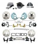 """1964-1972 GM A Body Front & Rear Power Disc Brake Conversion Kit Drilled & Slotted & Powder Coated Black Calipers Rotors 9"""" Dual Powder Coated Black Booster Kit"""