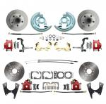 1964-1972 GM A Body (Chevelle,  GTO,  Cutlass) Stock Height Front & Rear Disc Brake Kit Red Calipers