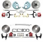 "1964-1972 GM A Body (Chevelle,  GTO,  Cutlass) 2"" Drop Front & Rear Disc Brake Kit Red Calipers"