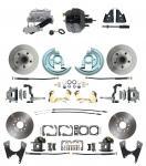 "1967-1969 Camaro/ Firebird & 1968-1974 Chevy Nova Front & Rear Power Disc Brake Conversion Kit Standard Rotors W/ 9"" Dual Powder Coated Black Booster Kit"