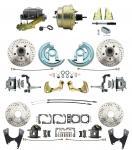"1967-1969 Camaro/ Firebird & 1968-1974 Chevy Nova Front & Rear Power Disc Brake Conversion Kit Drilled & Slotted Rotors W/ 8""Dual Zinc Booster Kit"