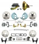"""1967-1969 Camaro/ Firebird & 1968-1974 Chevy Nova Front & Rear Power Disc Brake Conversion Kit Drilled & Slotted Rotors W/ 11"""" Delco Stamped Booster Kit"""
