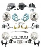 """1967-1969 Camaro/ Firebird & 1968-1974 Chevy Nova Front & Rear Power Disc Brake Conversion Kit Drilled & Slotted Rotors W/ 8"""" Dual Powder Coated Black Booster Kit"""