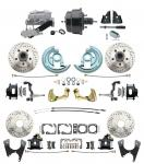 """1967-1969 Camaro/ Firebird & 1968-1974 Chevy Nova Front & Rear Power Disc Brake Conversion Kit Drilled & Slotted & Powder Coated Black Calipers Rotors W/ 8"""" Dual Powder Coated Black Booster Kit"""