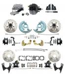 """1967-1969 Camaro/ Firebird & 1968-1974 Chevy Nova Front & Rear Power Disc Brake Conversion Kit Drilled & Slotted & Powder Coated Black Calipers Rotors 9"""" Dual Powder Coated Black Booster Kit"""