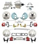 """1967-1969 Camaro/ Firebird & 1968-1974 Chevy Nova Front & Rear Power Disc Brake Conversion Kit Drilled & Slotted & Powder Coated Red Calipers Rotors W/8"""" Dual Chrome Flat Top Booster Kit"""